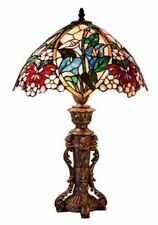 Table Lamp Tiffany Style Red Pink Floral Stained Glass Shade Copper Finish