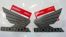 Honda Wing Fuel Tank Decal Wings Sticker 2 x 95mm Dark Grey & Graphite Black