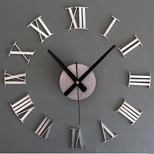 Mode DIY Luxe 3D Horloge Murale Grande Taille Décoration De Maison Art Argent