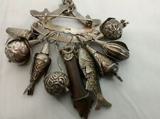 Very unique antique Victorian 833 silver chatelaine 9 charms fruits figa fist