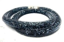 DARK GRAY STARDUST DOUBLE CRYSTAL BRACELET MEDIUM 2014 SWAROVSKI JEWELRY#5089847
