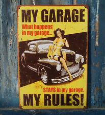 MY GARAGE MY RULES Rust Metal Tin Sign Vintage Garage Wall Decor Man Cave