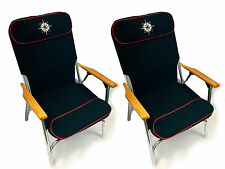 Marine Folding Padded Deck Chair for Boat Blue - Set of 2 chairs -  Five Oceans
