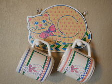 SET OF 2 VINTAGE COFFEE CATS MUGS with WOODEN HANGING HOLDER CUPS