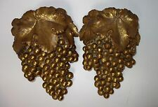 1955 Pair of Plaster of Paris Gold Leaf Grape Wall Pockets