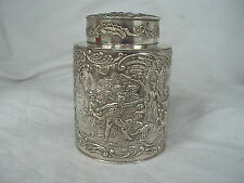 Tea Caddy plata alemán Circa 1910