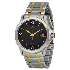 Citizen Eco-Drive Black Dial Two Tone Stainless Steel Mens Watch BM7264-51E