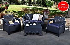 SET 4PCS Patio Furniture Rattan Wicker Outdoor Sectional Chair Table Cushion NEW