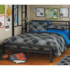 Metal Full Size Bed Frame Platform Headboard Black Kids Youth Bedroom Furniture
