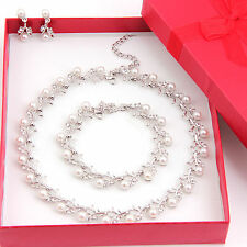 Fashion Women Jewelry Sets Wedding Bridal Pearl &Crystal Necklace Earring Set