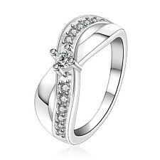 Silver Plated Bow Two Waves bridal engagement ring 17.5 mm size O FR241