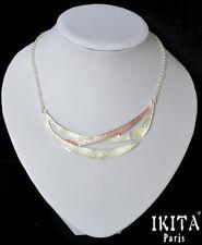 Luxus Statement Halskette  IKITA Paris Kette Emaille Versilbert Pharao Weiß Rosa