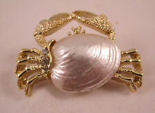 Vintage Gerry's Brooch Small Crab Gold Tone and Rhinestones Sea Shell Body Cute