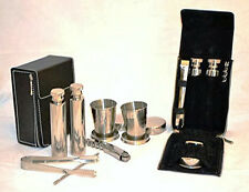 Stainless Steel Travel Mini Bar Set 7pc in Leather Covered Hard Case