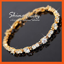 9K Gold FILLED GENUINE SWAROVSKI CRYSTAL TENNIS BAND SOLID LADY BANGLE BRACELET