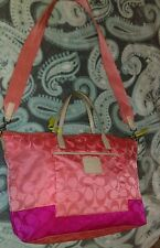 Coach Large Purse/Bag Signature Peach/Dark Pink
