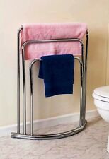 HEAVY DUTY FLOOR FREE STANDING 3 TIER CHROME TOWEL HOLDER RAIL RACK 3 BAR