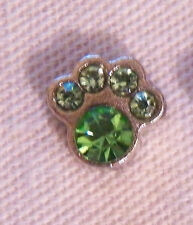 August Birthstone Paw Print Floating Locket Charm - Silver-tone - NEW