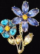 NIB NAPIER TEAL BLUE GREEN GARDEN SUMMER DAISY FLOWER PIN BROOCH JEWELRY 2.25""