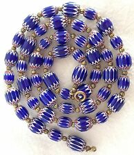 ANTIQUE LARGE MURANO/VENETIAN ERCOLE MORETTI 6 LAYER CHEVRON TRADE BEAD NECKLACE
