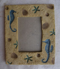 Vintage Sea Life Picture Frame,resin,rectangular,1980s-sea horse,shells,starfish
