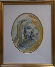 FRAMED WATERCOLOUR PAINTING by HELEN DE LA CROIX  HELEN MADONNA AND CHILD SPAIN