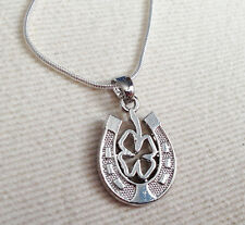 925 Silver Necklace & Rhodium plt Horseshoe / 4 Leaf Clover Lucky Ladies  Gift