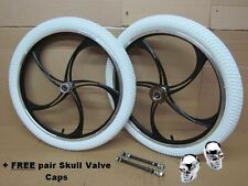 "Pair 20"" BMX Bike Mag Wheelset Front Rear Wheel White Wanda Tyre Sealed Bearings"
