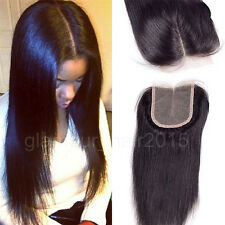 "18"" Lace Closure Straight Middle Part 6A Brazilian Virgin Human Hair Extensions"