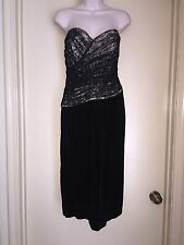 A.J. Bari Vtg Black Corset Style Lace & Velvet Cocktail Party Dress 8