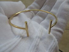 14k Italy Yellow Gold T Wire 2mm Bangle Bracelet. Small Medium