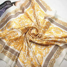 "35"" 100% Crepe satin Heavy Silk Scarf Square Women Shawl Wrap yellow 203-002"