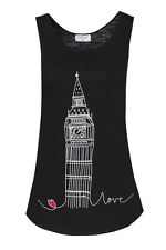 BIG BEN  3 LONDON SOUVENIR LADIES ONE SIZE (PETITE) TRENDY BLACK VEST, TANK TOP