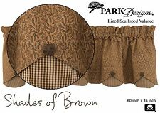 Shades of Brown Scallop Valance by Park Designs, 60x15, Lined, Button Detail, 1