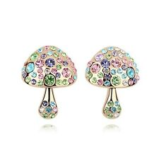 18K Gold Plated Swarovski Crystals Lovely Multicolored Mushroom Stud Earrings