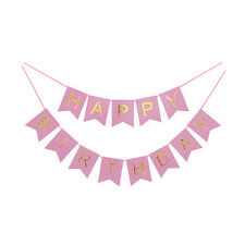Pink and Gold Foil Happy Birthday Banner Party Decoration