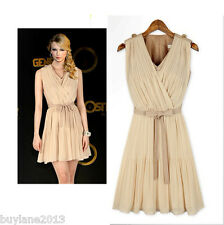 Buylane Stunning Apricot V-Neck Chiffon Above Knee Sleeveless Bodycon Dress