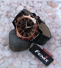 ORIGINAL FENIX  BRAND CHRONOGRAPH STYLED MEN'S LEATHER STRAP WRIST WATCH - BLACK