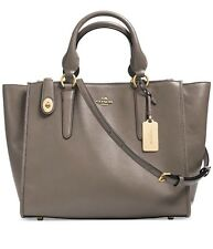 NWT COACH 33545 CROSBY CARRYALL BAG Light Gold/FOG LEATHER turnlock~MSRP$395