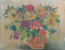 STILL LIFE OIL PAINTING 19th CENTURY IMPRESSIONIST FLORAL RENOIR STYLE INITIALED