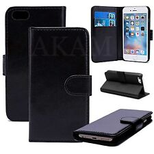 PU Leather Book Wallet Magnetic Flip Stand Case Cover iPhone 7 Plus Black