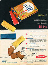 PUBLICITE ADVERTISING 114  1957  BRUN  biscuits THE en cartouche