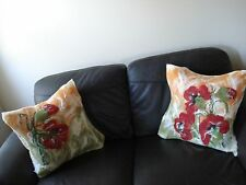 "Luxury Soft wool felted Fleece Poppy flowers set Cushion Cover Pillowcase19""X19"""
