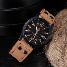 Brown Waterproof Vintage Classic Mens DAILY Date Sport Quartz Army Watch N