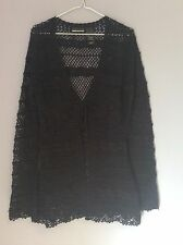 NWOT DKNY Jeans Women's knit embroidered open tie cardigan blk womens