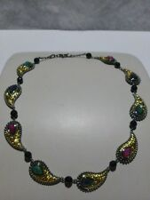 "DESIGNER ""EA"" BLACK STERLING SILVER & GOLD PLATED GENUINE STONE NECKLACE 16"""