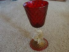 Vintage Venetian Murano Glass Goblet w/ Dolphin fish Ruby w Gold Salvati 7.5""