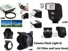 CK9u UV Filter + Lens Hood + Camera Flash for SAMSUNG NX100 NX200 NX210 20-50mm