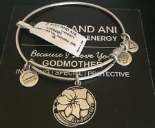 "ALEX AND ANI ""BECAUSE I LOVE YOU GODMOTHER"" CHARM BRACELET IN RUSSIAN SILVER NWT"