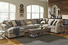 STEFAN-Large Gray Microfiber Living Room Sofa Couch Chaise-4 piece Sectional Set